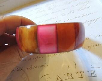 Vintage Bracelet Pink Red Orange Brass Boho Wide Bangle Bracelet Vintage Jewelry