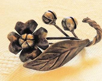 Sterling Silver Brooch Pin Handmade Flower 1940s Retro Vintage Jewelry