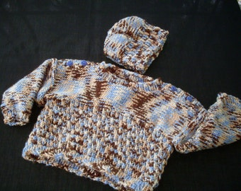 Hand knit boy's variegated blue, tan and white pullover and hat