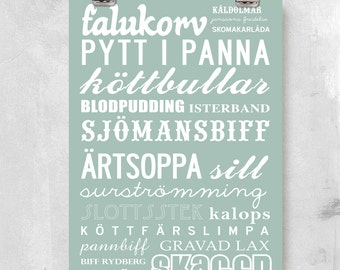 Best of Sweden -  traditional dishes. Typographic design. Large A2: 42x59.4 cm, luxury poster print.
