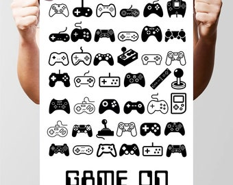 Game On! Stylish Gaming Console design. Poster Print. Size A3, 16.5 x 11.7 in