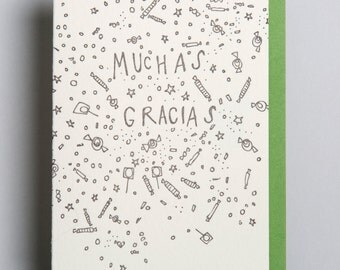 Letterpress card, Muchas Gracias
