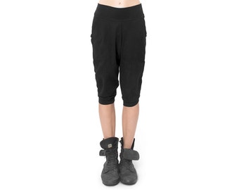 Black Low Crotch Shorts - Low Crotch Shorts - Baggy Shorts - Drop Crotch Shorts - Sweatpants