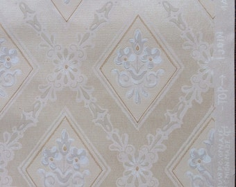 Vintage Wallpaper - Floral Beige Cream Geometric BIRGE 1940's - 1 Yard