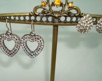Two Pairs of Dainty Rhinestone Earrings.