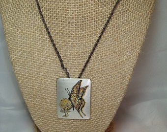Vintage Reed and Barton Damascene Butterfly Pin Pendant on a Black Chain.