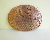 Vintage Copper Trivet, Flower Basket, Old Dutch Design, Kitchen Decor, Bakeware