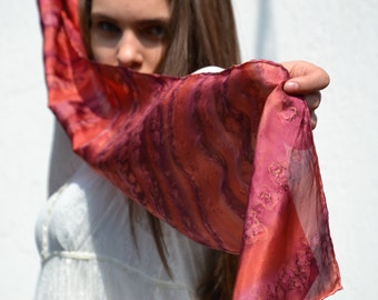 Copper scarf  with terracotta and maroon shades, hand dyed scarf