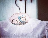 Baby Clothes Hanger Vintage Kitty in Basket Wooden Wood