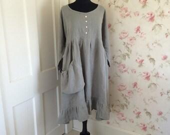 Linen Dress  Sage Green Washed Linen Long Prairie Dress Garden Pocket One Size