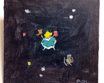 SALE. 50% OFF. Down the rabbit hole  - Original Painting. Day 106. Art by Lilly Piri. Alice in Wonderland. Tea cup
