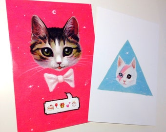2 x Kitten postcard mini prints. Cat. Bowie kitten and Emoji kitten