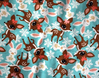 Pretty Girl Reindeer and bunny flannel pants Lounge pants pajama dorm made to order your choice size XS - 2X