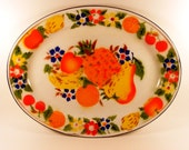 Vintage Enamel Platter - Enamelware Fruit Floral Tray - Thanksgiving Tray - Turkey Platter - Colorful Serving Tray - Metal Oval Tray