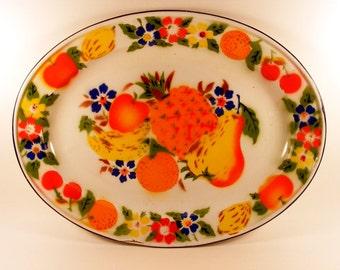 Vintage Enamel Platter - Enamelware Fruit Floral Tray - Thanksgiving Tray - Turkey Platter - Colorful Serving Tray - Metal Oval Tray