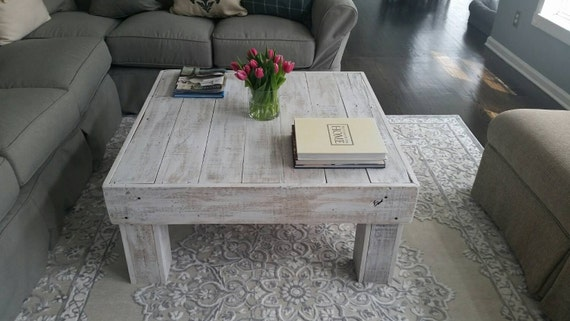 White Wash Square Coffee Table by TheFallBasket on Etsy