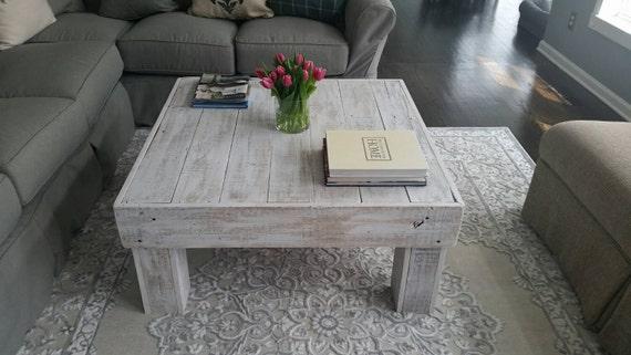 White Wash Square Coffee Table
