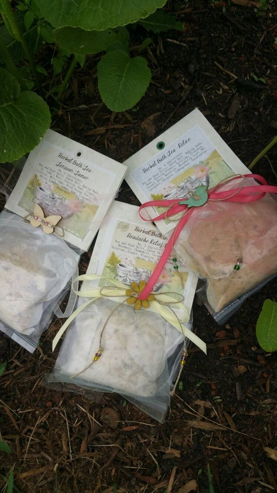 Herbal Bath Salts*Bath Tea in compost able tea bag*U-Pick Scent*3 oz