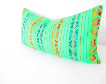 Mexican embroidered pillow, Tribal pillow, Mexico Pillow green lumbar bohemian decor long Lumbar pillow, Pillowcase aztec, Boho room Decor,