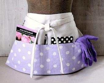 Lavender Polka Dot Apron - Teacher Apron - Womens Apron - Vendor Half Apron - Craft Show - Purple