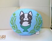 Boston Terrier Mermaid Handmade Pillow Art Plush