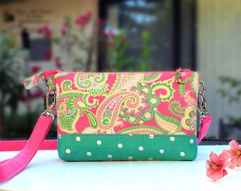 Twin Wallet Pink Paisley Green bottm Smartphone Cellphone Wallet iPhone 6, 7 Plus Samsung Galaxy S6 8 Card Slots coin Pocket Zipper Closure