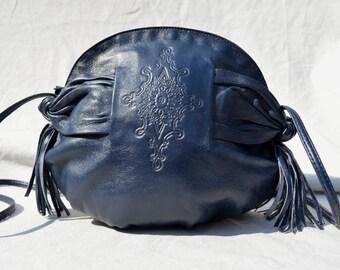 Vintage 80's leather bag purse shoulder bag hand tooled fringes round original design by thekaliman