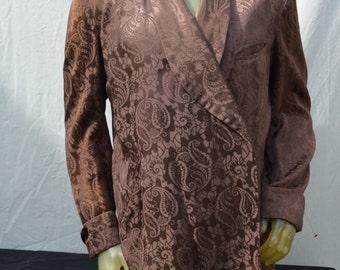 Vintage 50's men's smoking jacket ROYAL ROBES leisure coat short robe rat pack paisley brown satin b42 by thekaliman