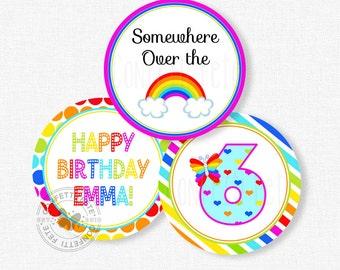 "Rainbow Party Centerpiece Circles, Rainbow Birthday Decorations, Colorful Table Decor, Printable 4"" Party Circles"
