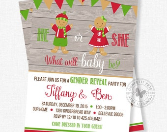 Christmas Gender Reveal Invitation, Gingerbread Invitation, Holiday Gender Reveal Party, Christmas Baby Shower, He or She Invite