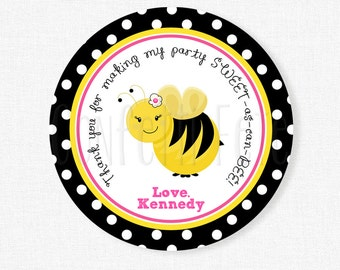 Bumble Bee Favor Tags, Bee Gift Tags, Bumble Bee Birthday Party Tag, Bee Favors, Girl Birthday Favor Tags, Personalized