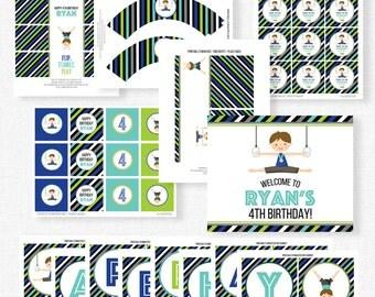 Gymnastics Birthday Party Printables, Gymnastic Party Decorations, Gymnastics Boy Birthday, Printable Party Package