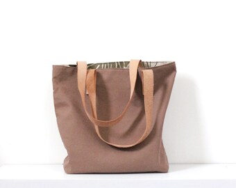Brown Canvas Tote Bag Leather Straps, Simple Large Tote Bag, Minimalist Style, Genuine Vegtanned Leather