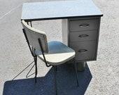 BLOWOUT 40% off sale Vintage 60s Mid Century Modern Steel Grey Black Desk and Chair Set - hairpin legs, children, salesman sample