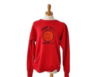 50% half off sale // Vintage 90s Sunny Hill Campsite Richburg, NY Red Sweatshirt - Women XL Men L