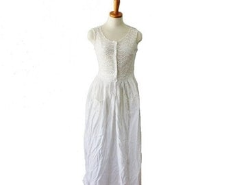 50% half off sale // Vintage 50s Does Edwardian White Eyelet Nightgown Dress - Women S, sleeveless