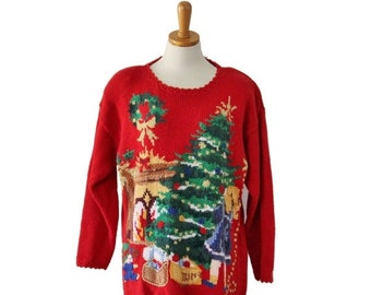 back to school sale // Vintage 90s Girl Decorating Tree ugly Christmas Novelty Sweater - Women Medium, Men Small