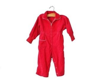 30% off sale // Vintage 70s Health Tex Jumpsuit - Corduroy Red, Snap Button, Kids 2T
