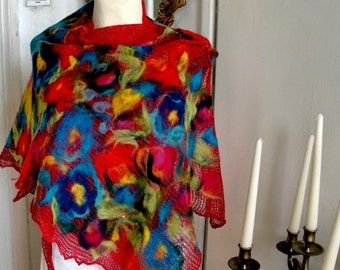 Nuno felted scarf shawl red linen , multicolor felted flower, poncho felted,  floral applications,gift,