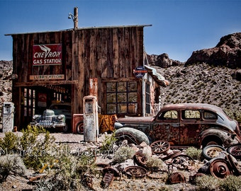 Old garage, 1943 Cadillac, southwestern decor, old cars photograph, man cave art, garage art, rusty old car, Fathers Day Gift, old gas pumps