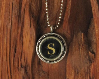 The Letter S Vintage Typewriter Key Necklace Pendant