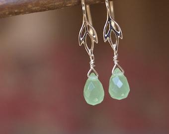 Prehnite/Lotus Drop Earrings