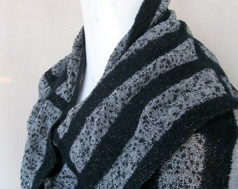 Handwoven Striped Scarf in Black and White