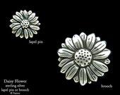 Daisy Lapel Pin or Daisy Brooch Sterling Silver Flower