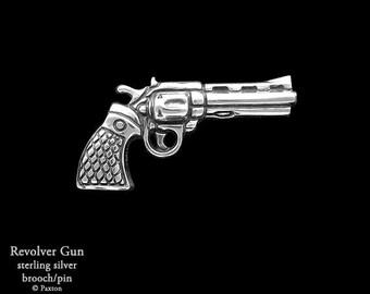 Revolver Pistol Brooch Pin Sterling Silver Gun Colt 44 Pin