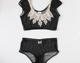 Modern Minimalist Acanthus Sheer Crop Top and Panties with Gold Lace Collar Handmade to Order