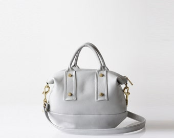 Gray Leather Handbag OPELLE mVanda Mini Convertible Doctor bag in Akoya
