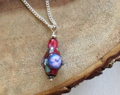 Red and Purple Floral Lampwork Charm Necklace, Valentines Necklace, Romantic Jewelry, Mothers Necklace