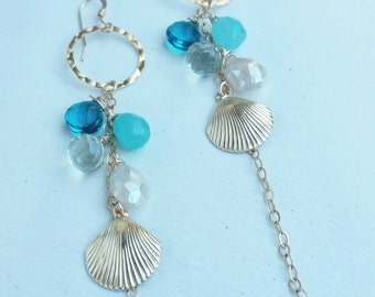 Gold and gemstone shell earrings
