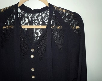 Vintage 1940s black dress with Lace and rhinestone buttons